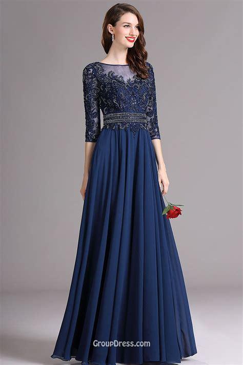 vintage three quarter sleeve lace chiffon illusion a line prom dress groupdress