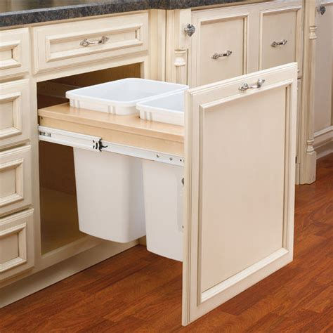 Kitchen Cabinet Trash Pull Out by Rev A Shelf Pull Out Waste Bins For Framed Cabinet
