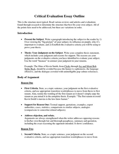 Evaluation Essay Outline by Evaluation Essay Outline Critique Essay Outline Best Photos Of Critique Essay Outline Ayucar