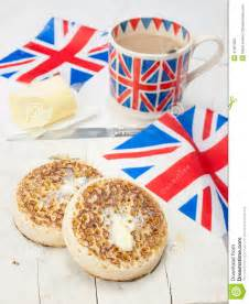 Custom Toaster Buttered English Crumpets With Cup Of Tea And Flag In