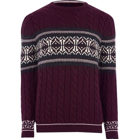 mens burgundy cable knit jumper burgundy cable knit fairisle jumper jumpers
