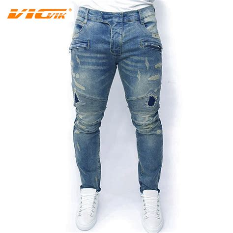 aliexpress jeans vicvik brand ripped jeans men famous brand male biker