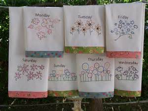 Embroidery Designs For Kitchen Towels Flower Tea Towels Embroidery Pattern Great In Work