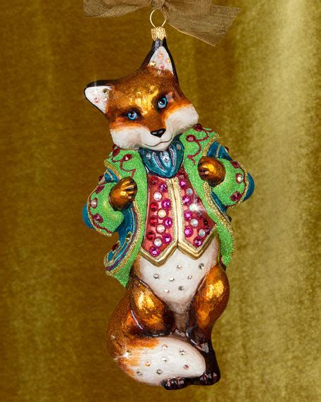 jay strongwater jubilee fox glass christmas ornament