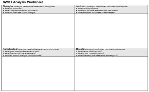 swot analysis worksheet template image gallery swot worksheet