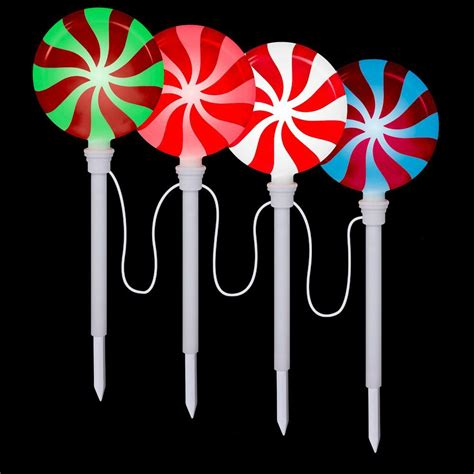 outdoor christmas stake lights lightshow lollipop pathway stake set of 4 80287 the