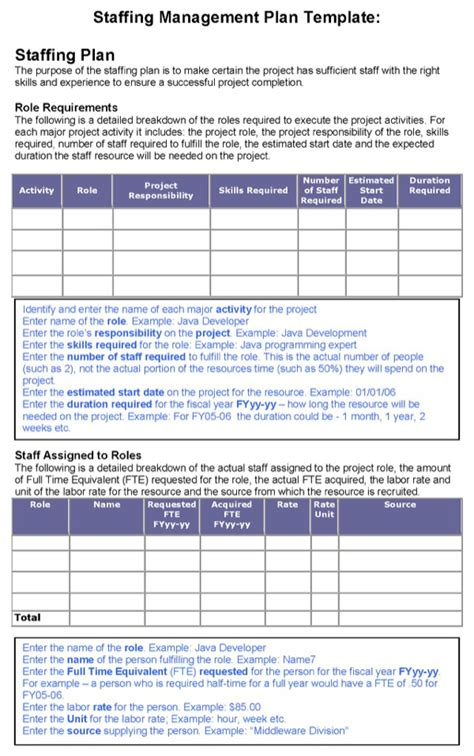 download staffing management plan template for free