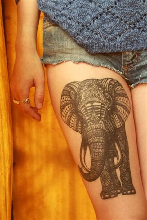 tattoo elephant on thigh 50 creative elephant tattoo designs for men and women