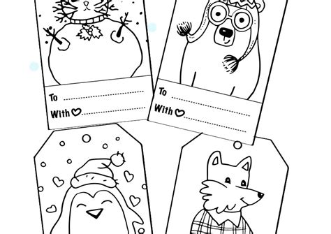 free printable gift tags to color free christmas gift tags printable coloring books for adults