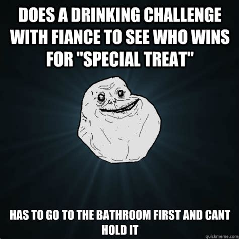 Drinking Alone Meme - does a drinking challenge with fiance to see who wins for