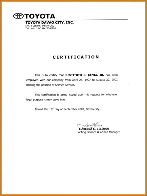 employment separation certificate template 10 employment separation certificate to the employee