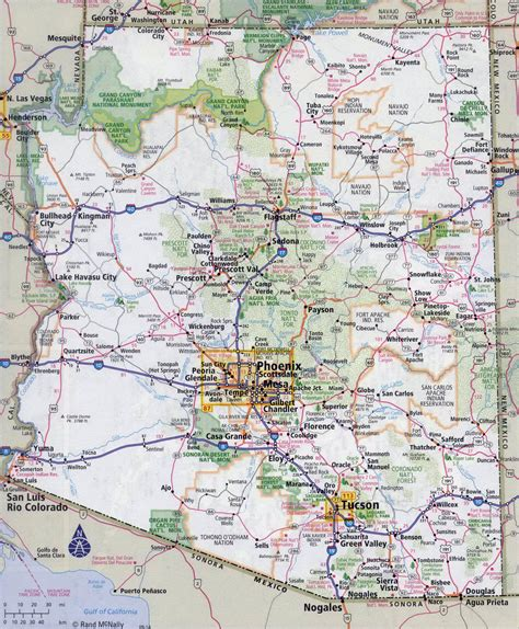 arizona state in usa map large detailed roads and highways map of arizona state
