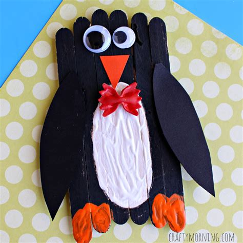 popsicle stick bow tie penguin craft for kids crafty morning