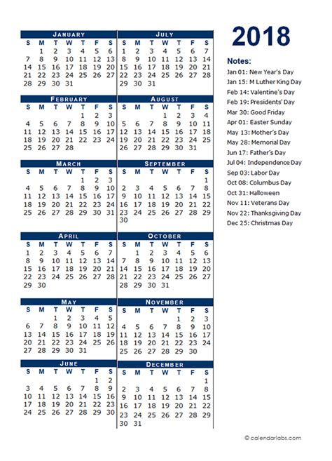 full year calendar template  page  printable templates