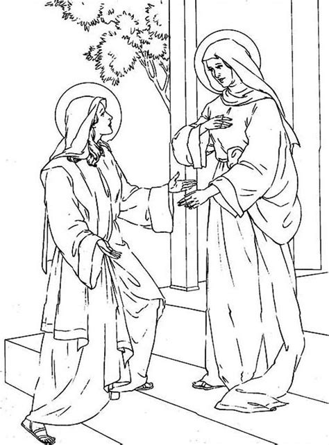 mary visits elizabeth pages coloring pages