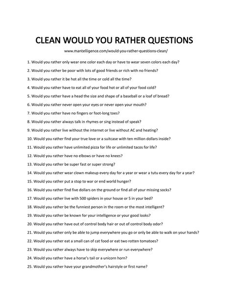 Or Questions Clean And 70 Would You Rather Questions Clean Not Offensive Yet To Answer