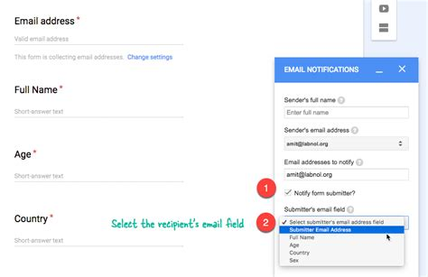 how to set up respondent email notifications with google forms