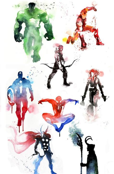 watercolor tattoo artists usa marvel watercolor captain america thor