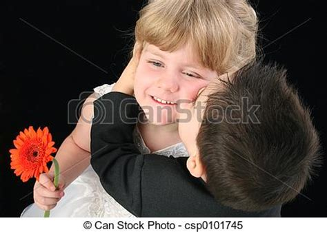 stock images of boy girl child kiss toddler boy giving
