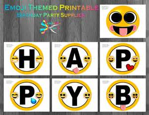 emoji printable birthday supplies emoticon smiley
