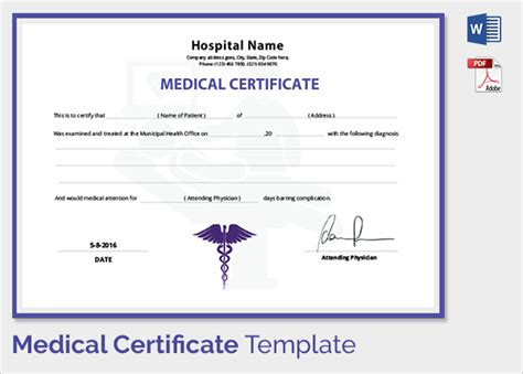 doctor s certificate template sle certificate 27 documents in pdf