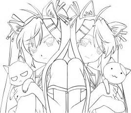 Anime Twins Boy And Girl Coloring Pages sketch template