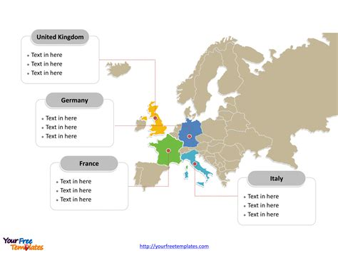 Europe Map Free Templates Free Powerpoint Templates Powerpoint Map Template