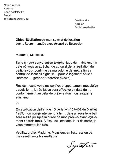 exemple lettre resiliation bail meuble
