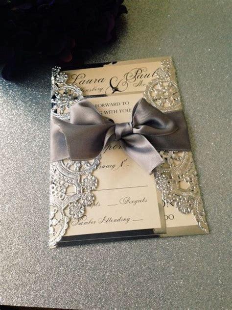 wedding invitations with bows sle metallic doilies wedding invitation suite with