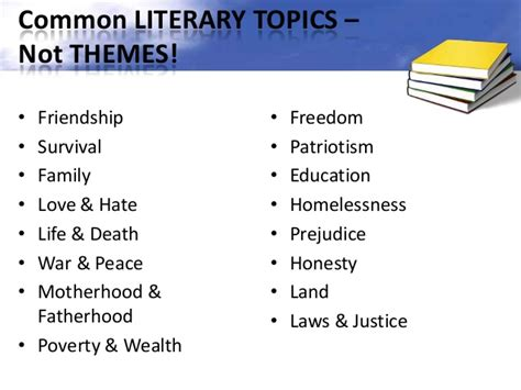 different types of themes in stories finding themes in literature ppt