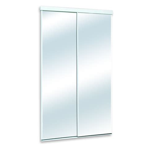 Closet Sliding Doors Mirror White Mirrored Sliding Door Common 48 In X 80 In Actual 48 In X 82 In Lowe S Canada