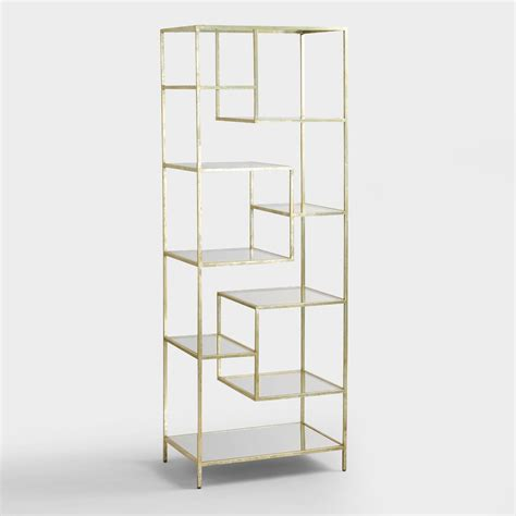 burnished metal and glass asymmetrical kali shelf world