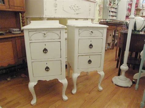antique nightstands in distressed white shabby chic