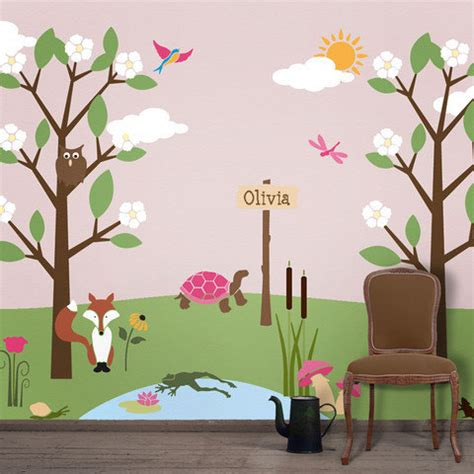 forest wall mural stencil kit for room baby nursery