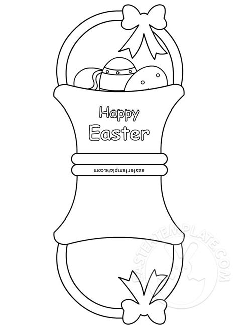 Free Easter Card Templates To Colour by Happy Easter Basket Card Easter Template