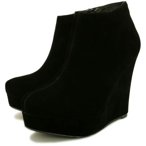 buy wedge heel platform ankle boots black