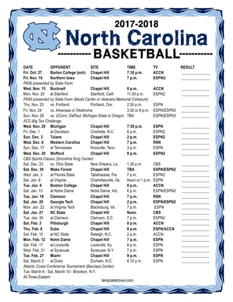 unc printable schedule printable 2017 2018 north carolina tarheels basketball