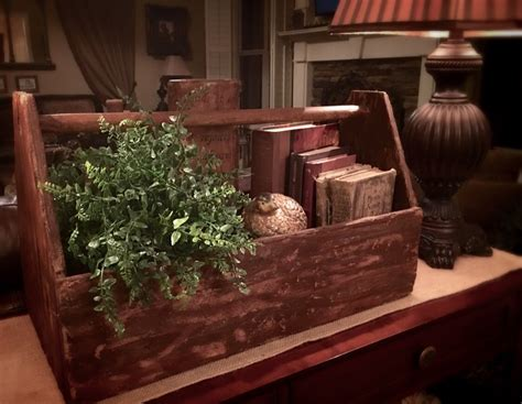 vintage wooden tool box caddy upcycle decor rustic