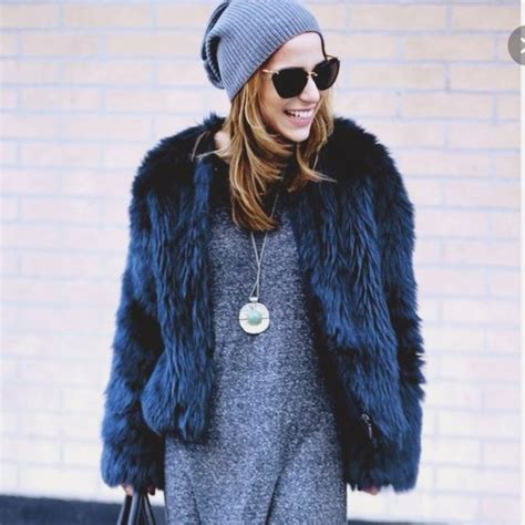 Fur Basic Dress zara basic faux fur petrol blue coat style fur blue