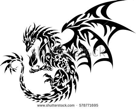 dragon of the darkness flame tattoo black silhouette attacking stock illustration