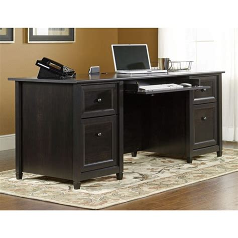 sauder edge water executive desk estate black finish upc 042666133043 sauder edge water executive desk