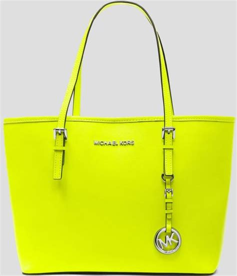 Mk Jetset Yellow Tote L michael by michael kors tote jet set travel small in yellow neon yellow lyst