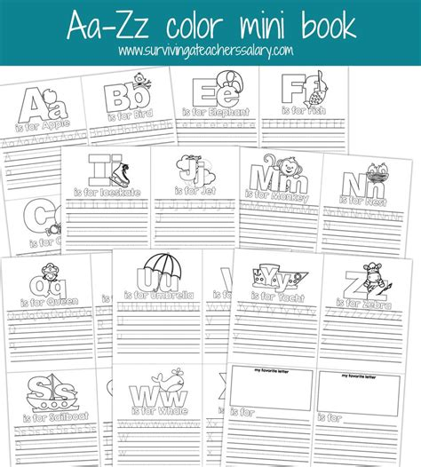 printable alphabet mini books preschool aa zz alphabet letter mini color book practice printable