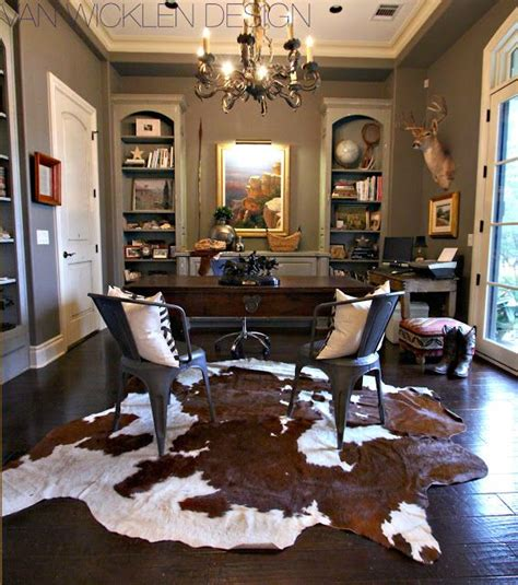 layered cowhide rugs driven  decor home home office