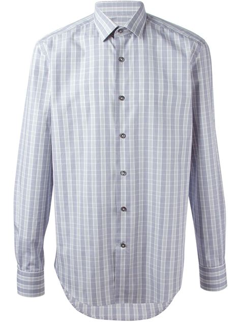 pattern white shirt lanvin checked pattern shirt in white for men lyst