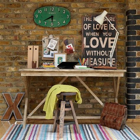 beautiful Home Office Desk Ideas #1: lively-home-office-with-exposed-brick-walls.jpg