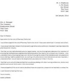 cover letter for a pharmacy technician pharmacy technician cover letter exle icover org uk