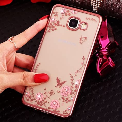Flower Softcase Iphone 5s Gold for iphone 5s 6s 7 plus gold frame pink flower diamonds