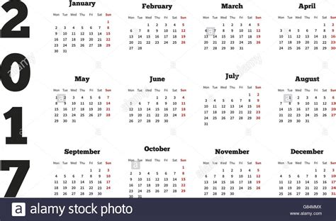 Monday Calendar 2017 Calendar On 2017 Year With Week Starting From Monday A4