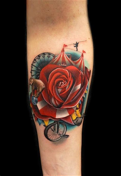 elephant and rose tattoo elephant circus by andres acosta best